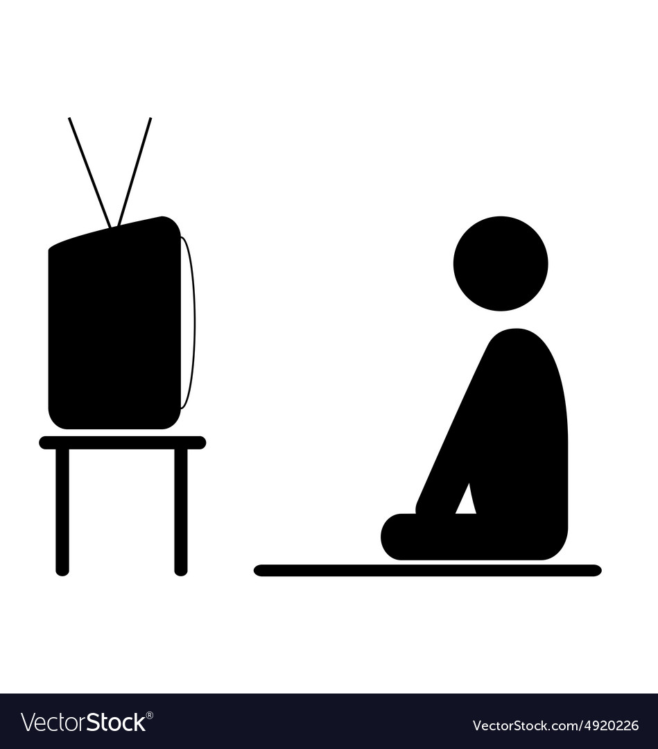 Watch tv program man pictogram flat icon isolated vector