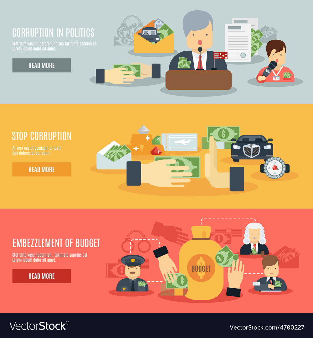 Corruption banner set vector