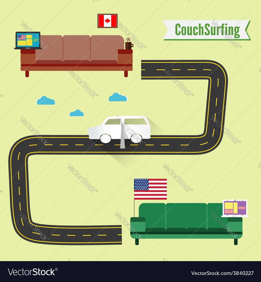 Couch surfing concept share your couch funny paper vector