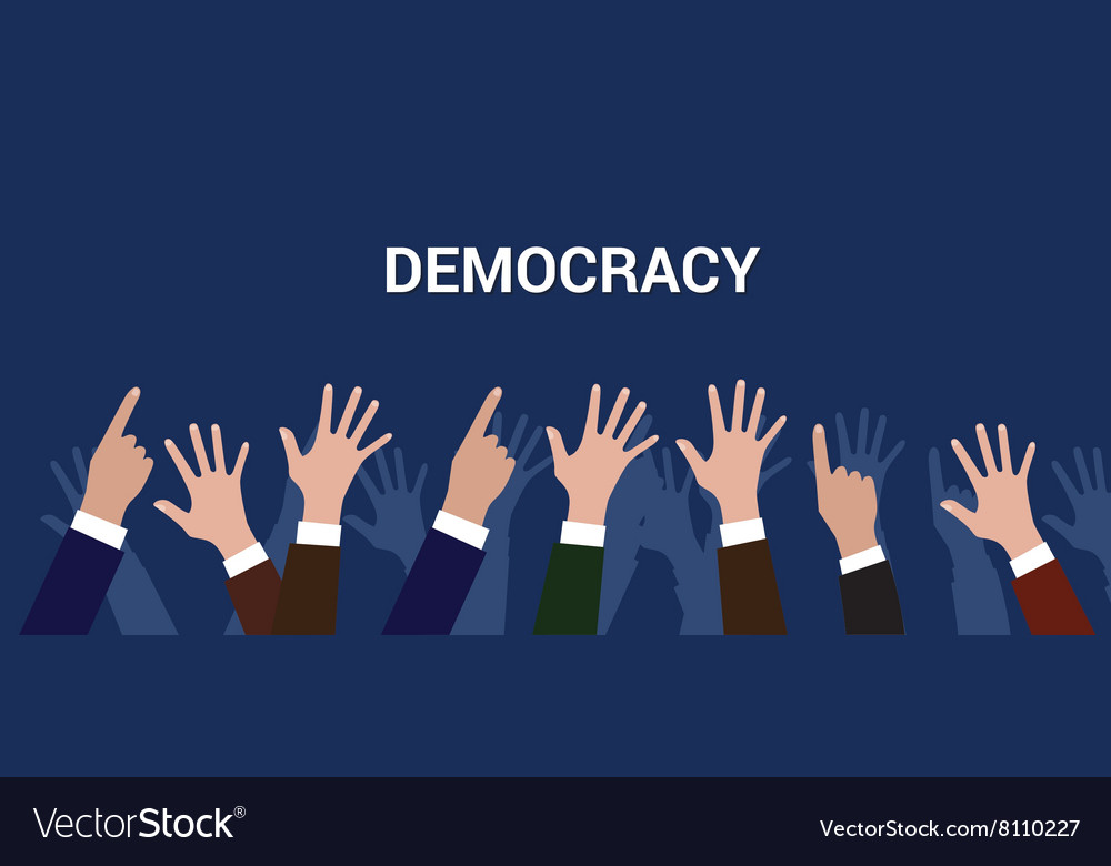 Democracy democration concept crowd people raise vector