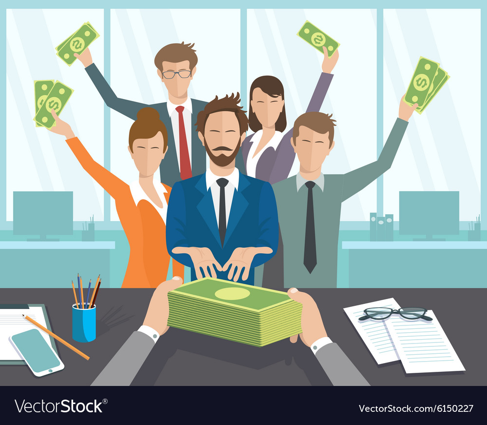 Office manager or workers receive a monthly vector
