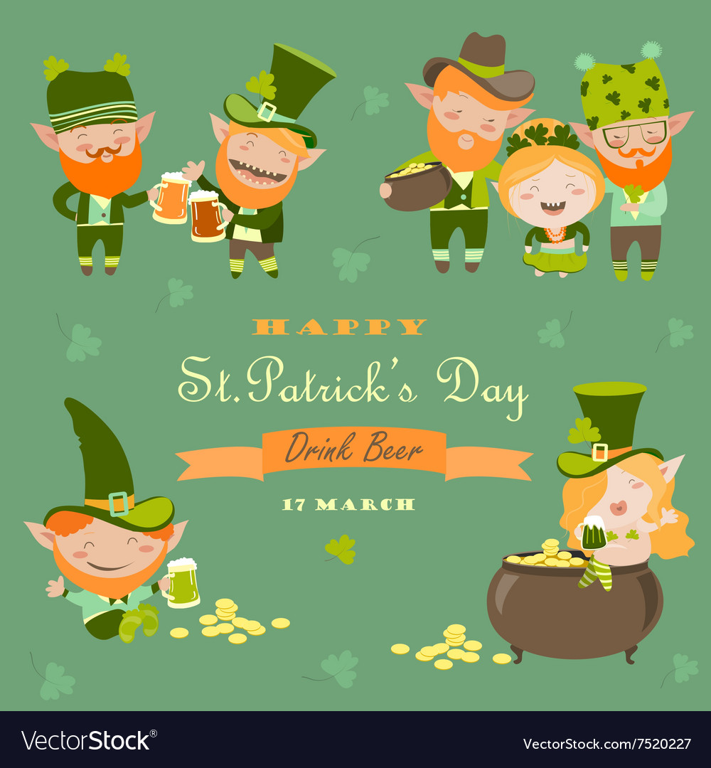 St partick day with leprechaun vector