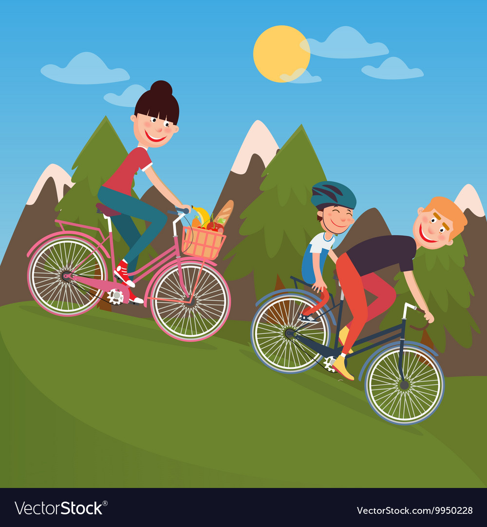 Happy family riding bikes in tho mountains vector