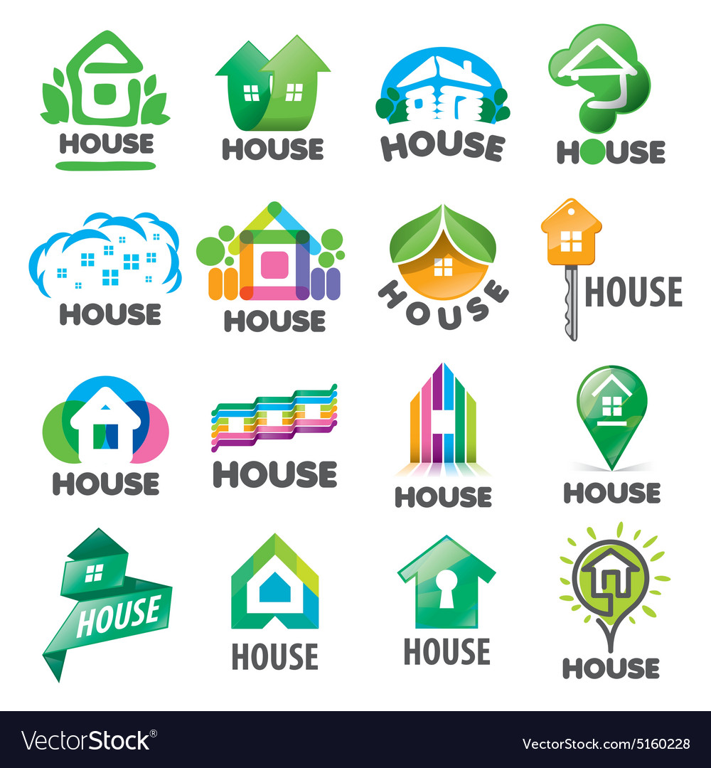Large set of logos homes vector