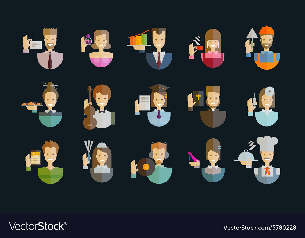 People icons set collection of elements  vector