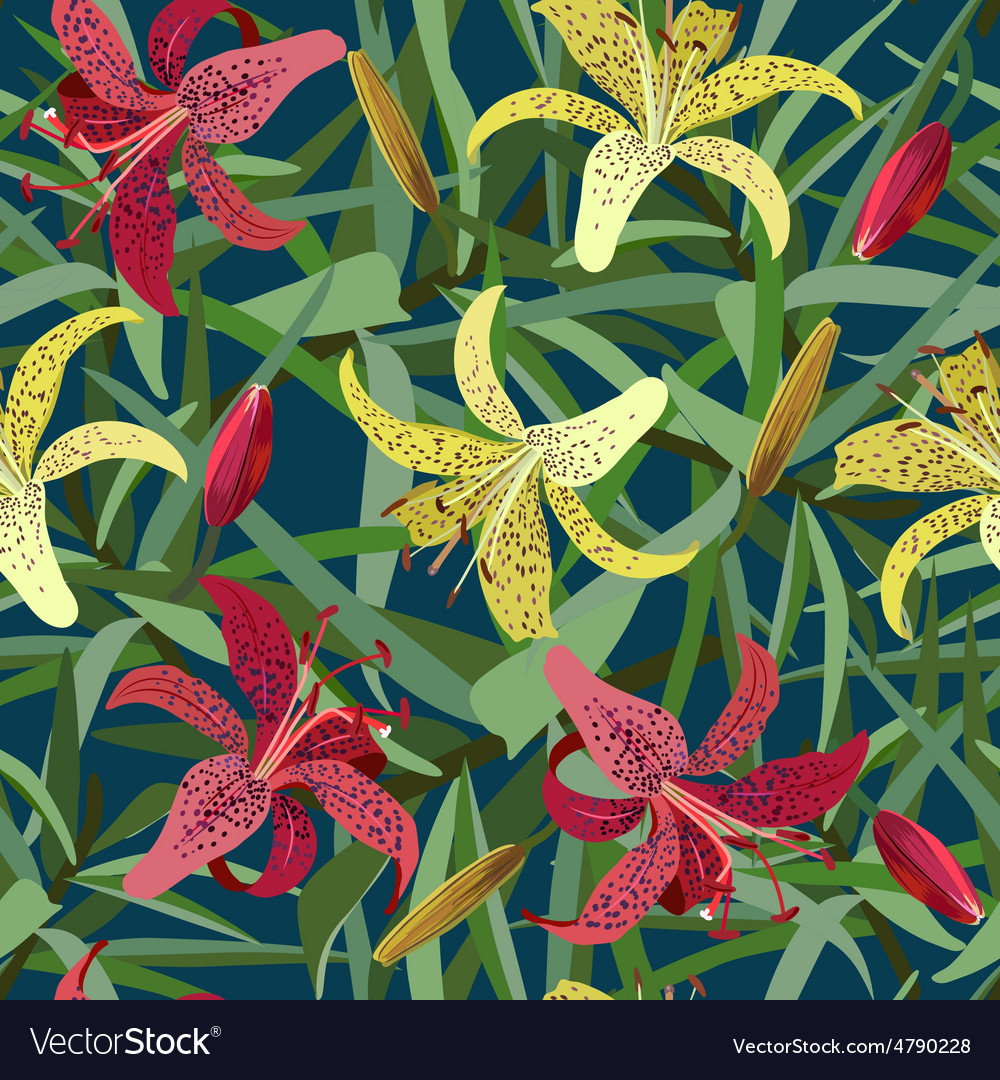 Seamless background from yellow and red tiger lily vector