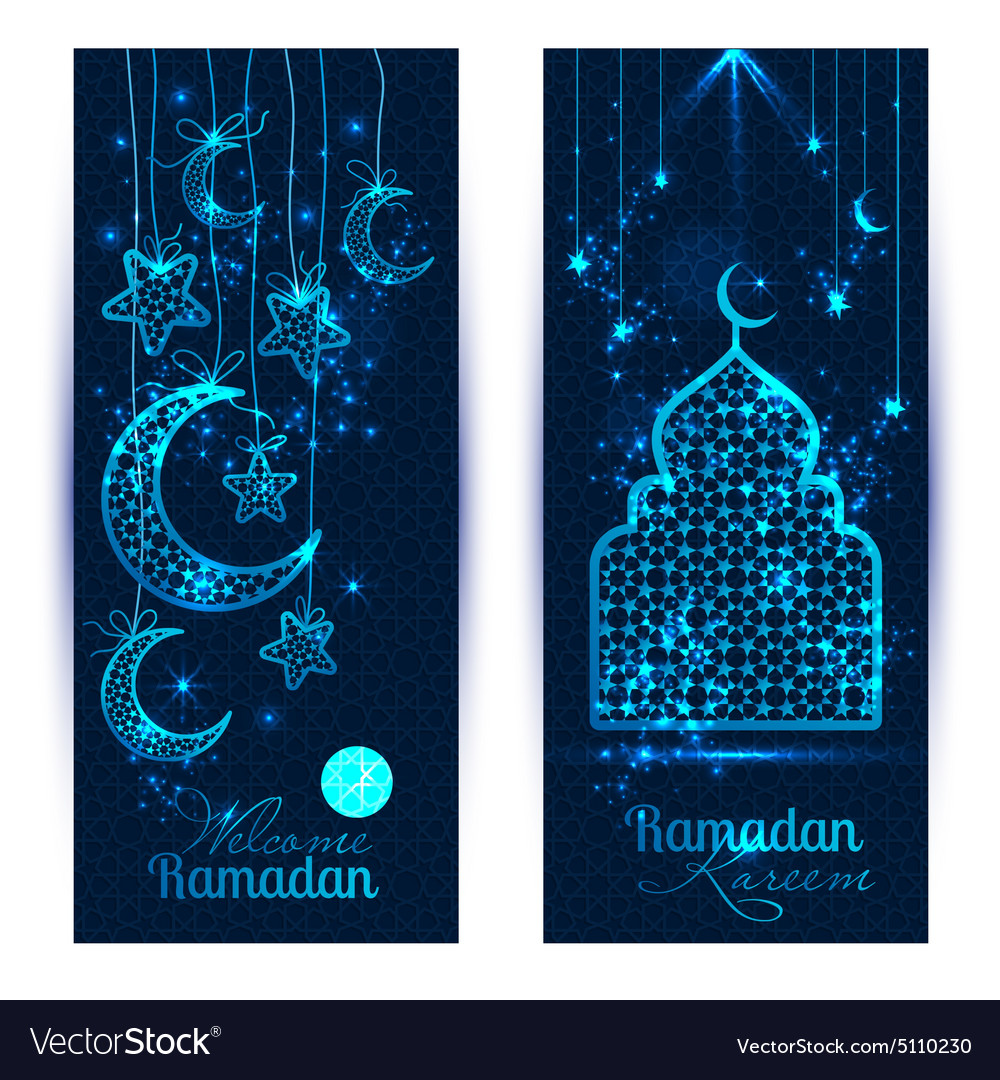 Ramadan kareem celebration greeting banners vector