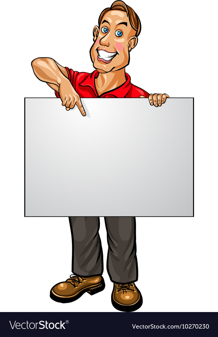 Smiling businessman pointing at blank banner vector