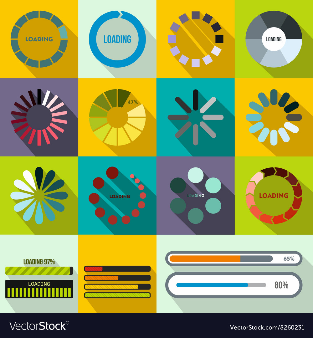 Progress bar and loading icons set flat style vector