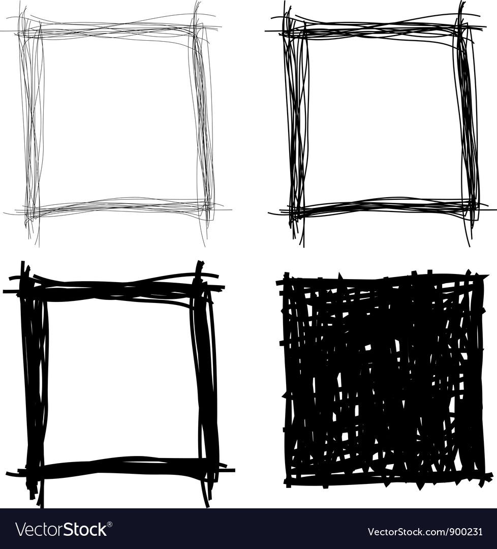 Set of hand drawn borders vector