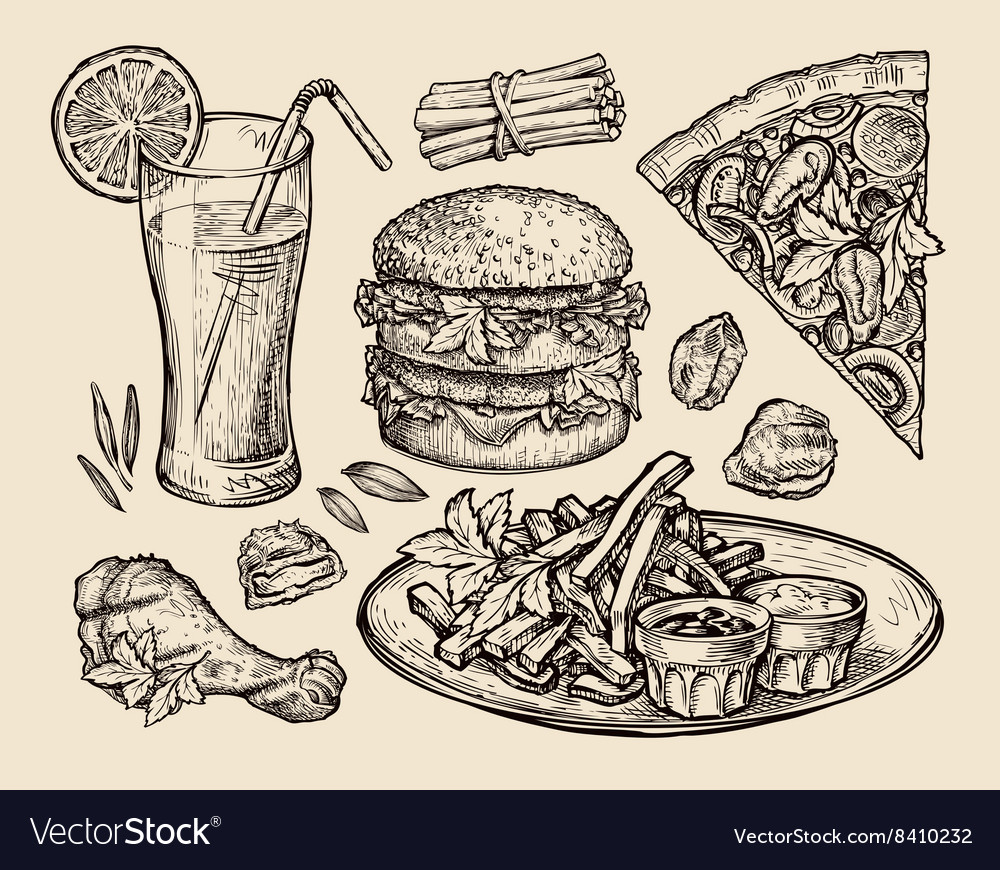 Fast food hand drawn pizza hamburger fries vector