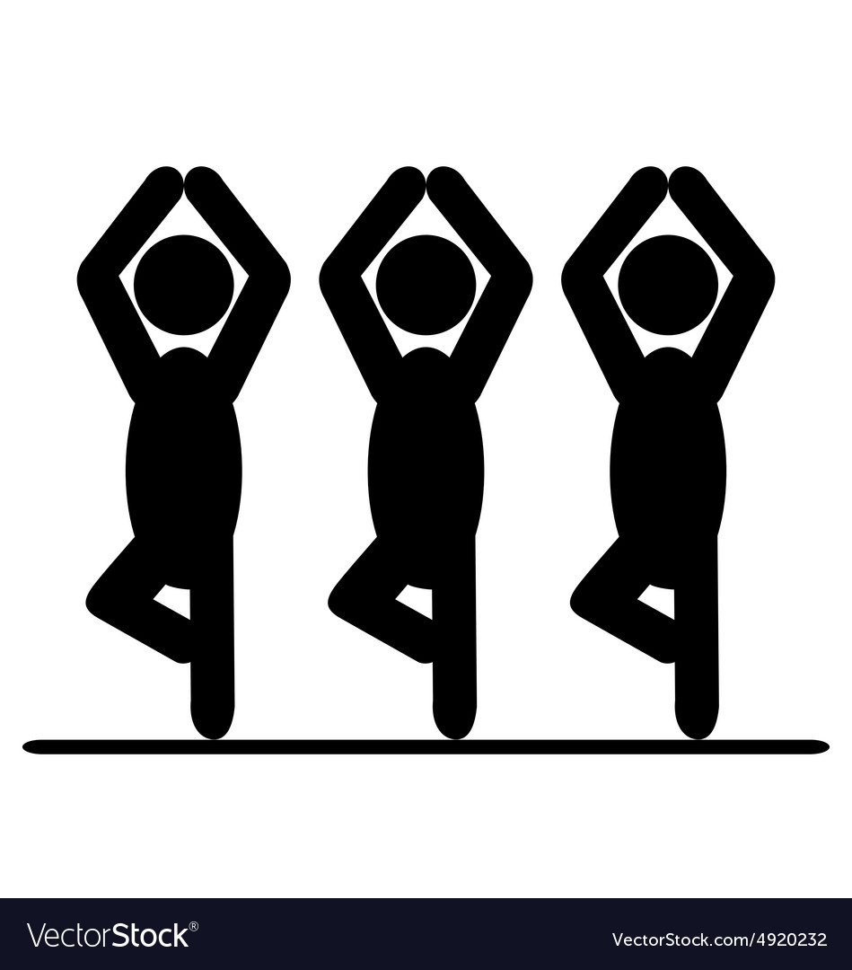 Yoga balance asana people pictogram flat icon vector
