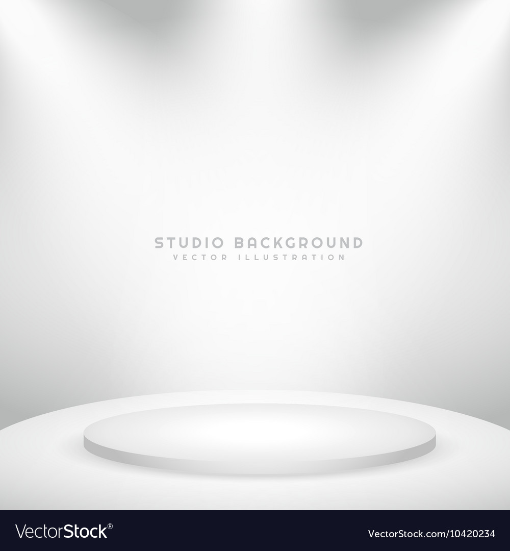 White studio background with podium vector
