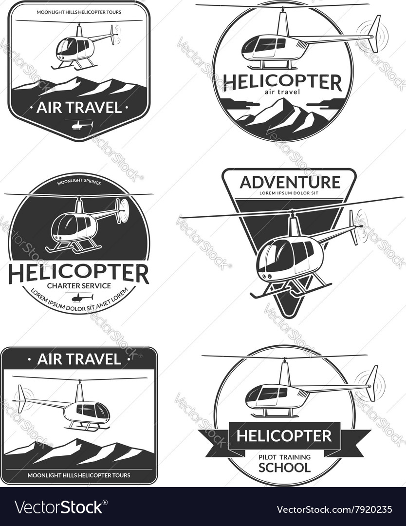 Set of helicopter logos labels design elements vector