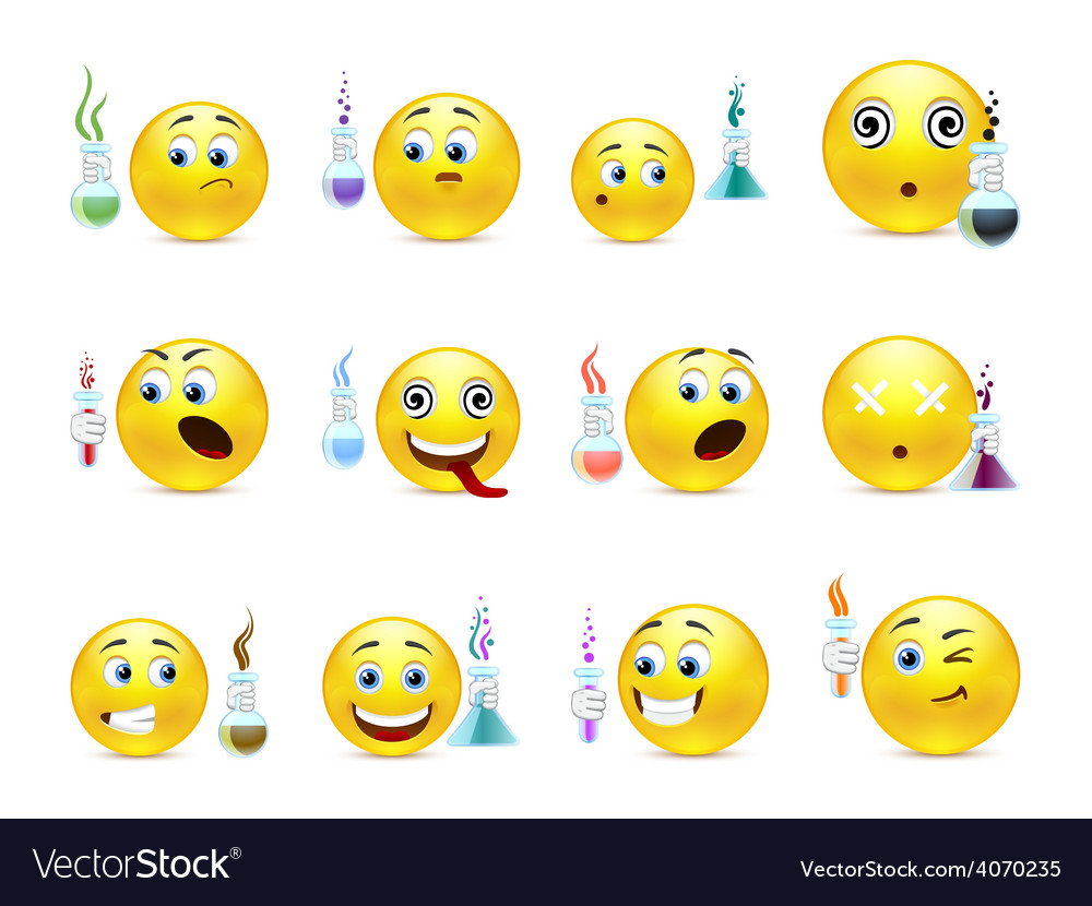Young chemists smilies vector