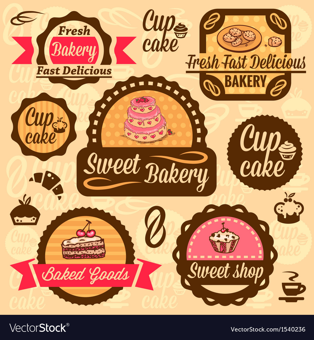 Bakery goods labels vector