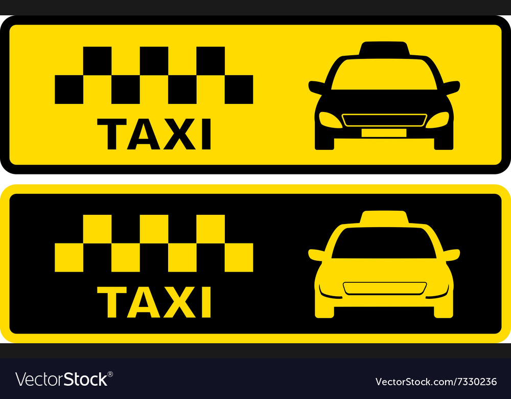 Black and yellow taxi symbol vector