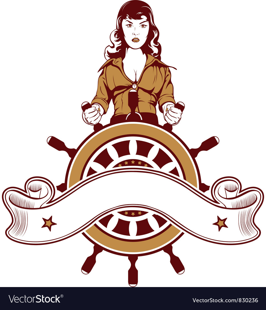 Ship wheel girl emblem vector