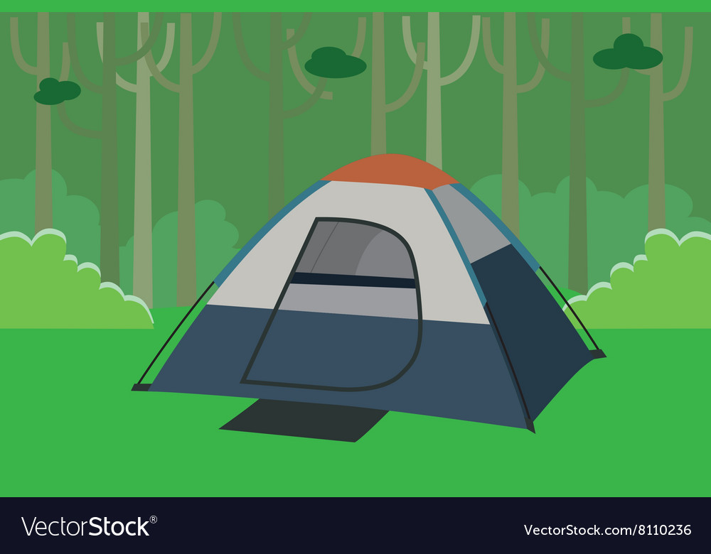 Tent camping the jungle with trees in forest vector