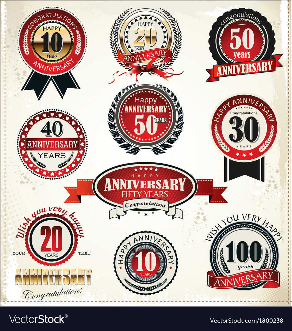 Anniversary sign collection retro design vector