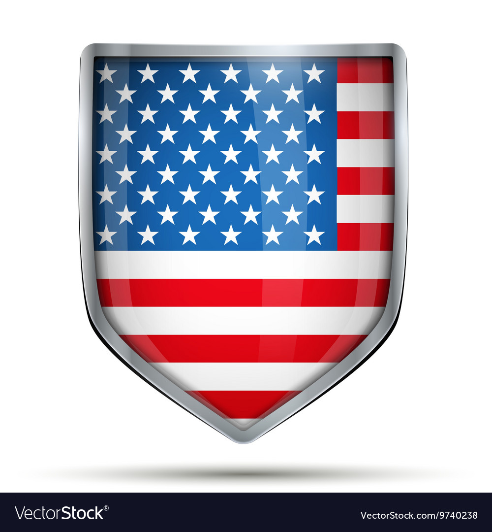 Shield with flag usa vector