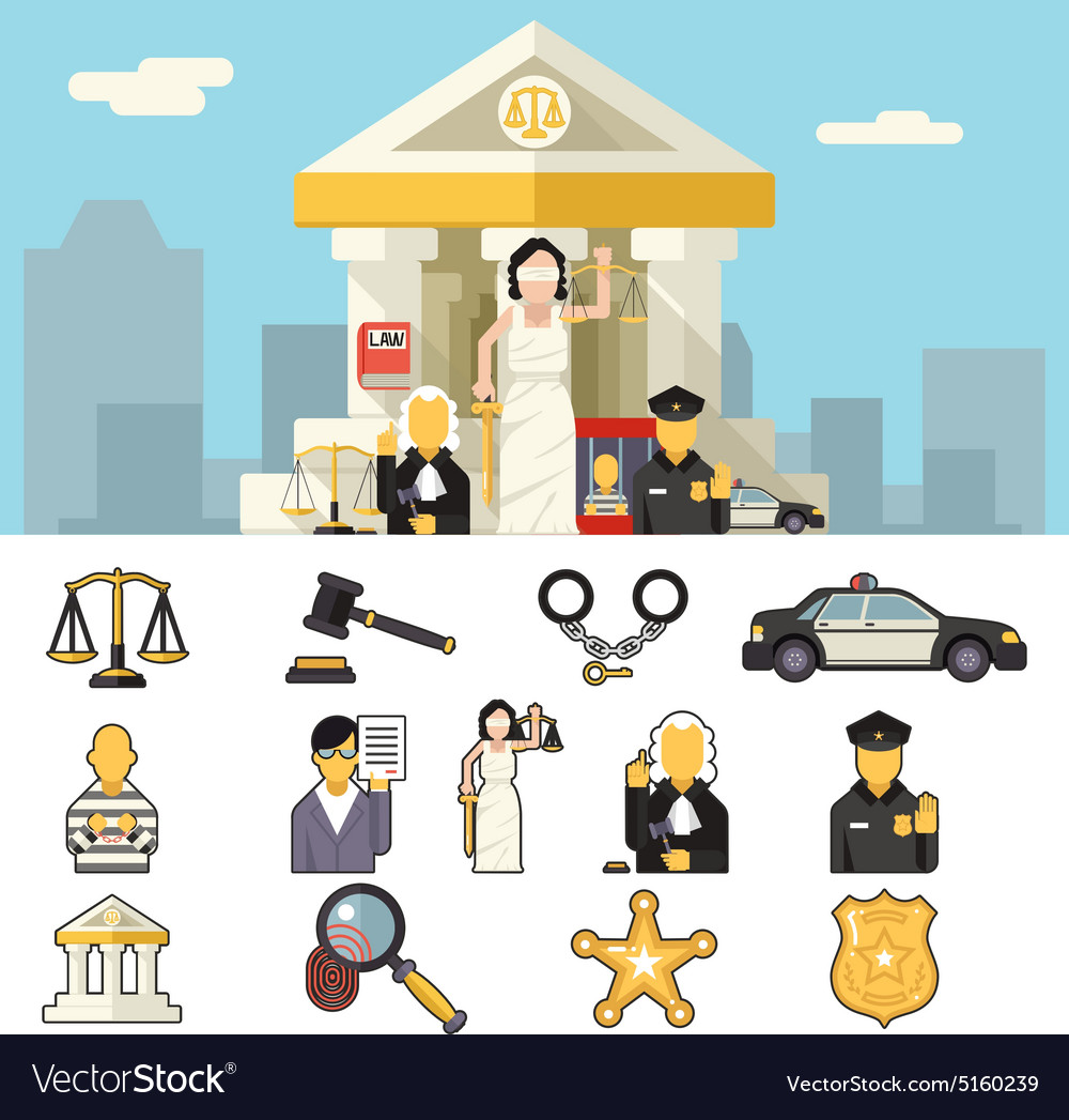 Law icons set justice symbol concept on city vector