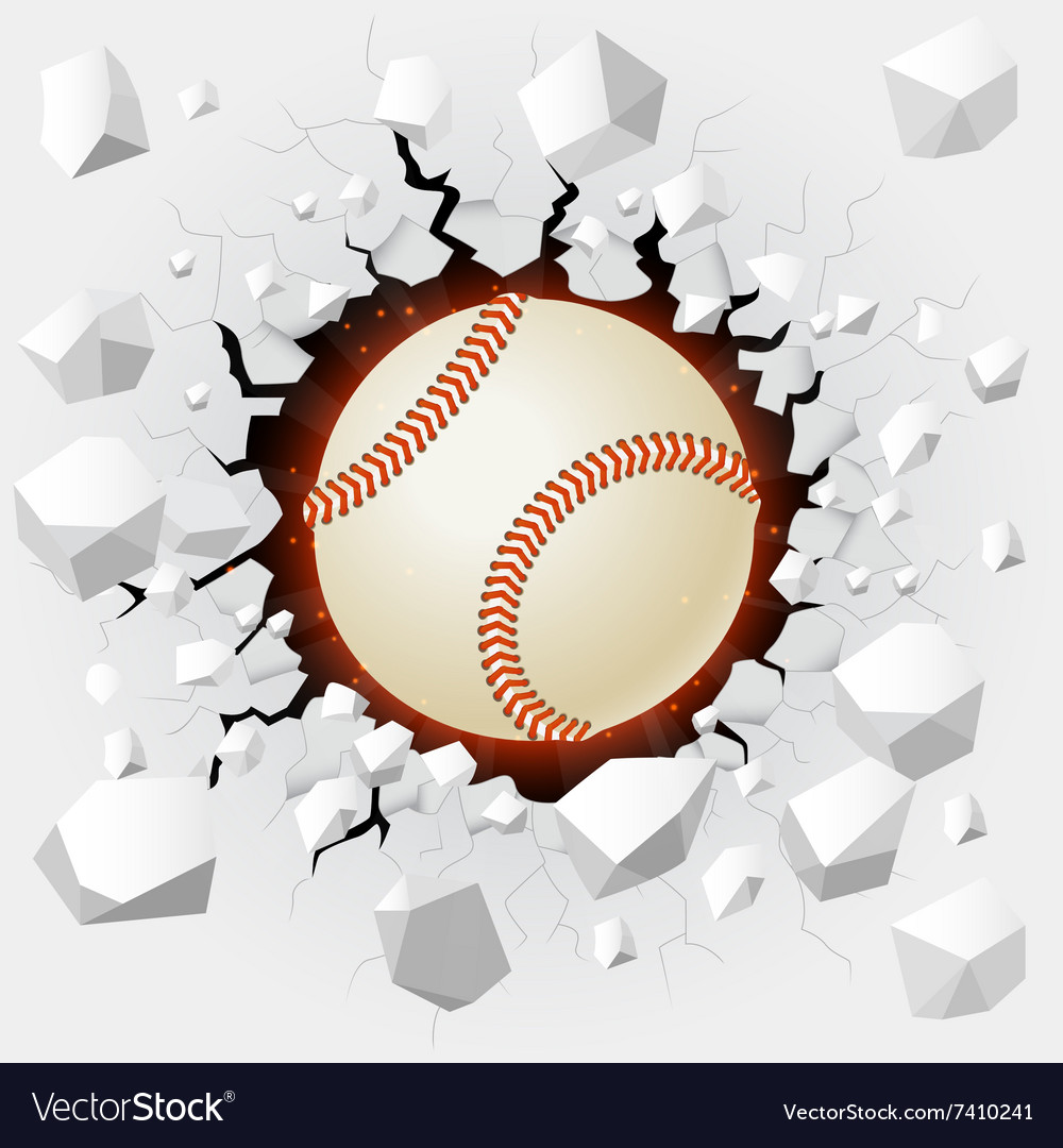 Baseball and with wall damage vector