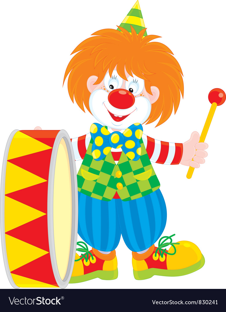 Circus clown drummer vector