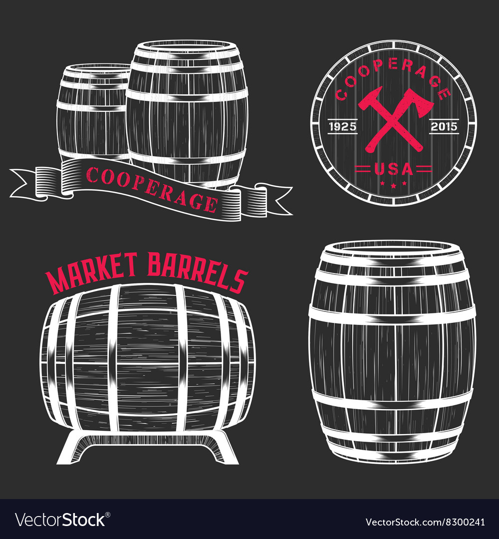 Set and logos cooperage workshops vector