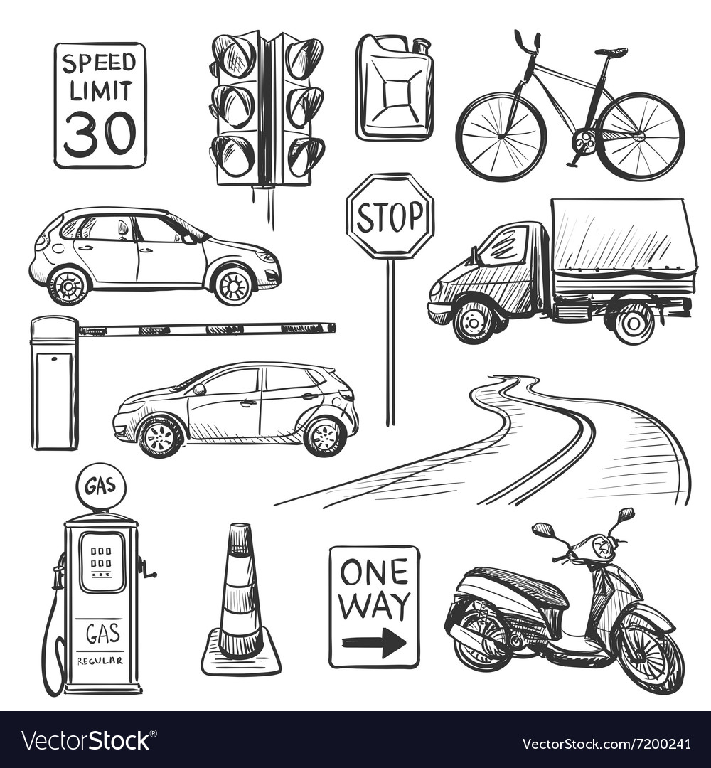 Traffic hand drawn icons set vector