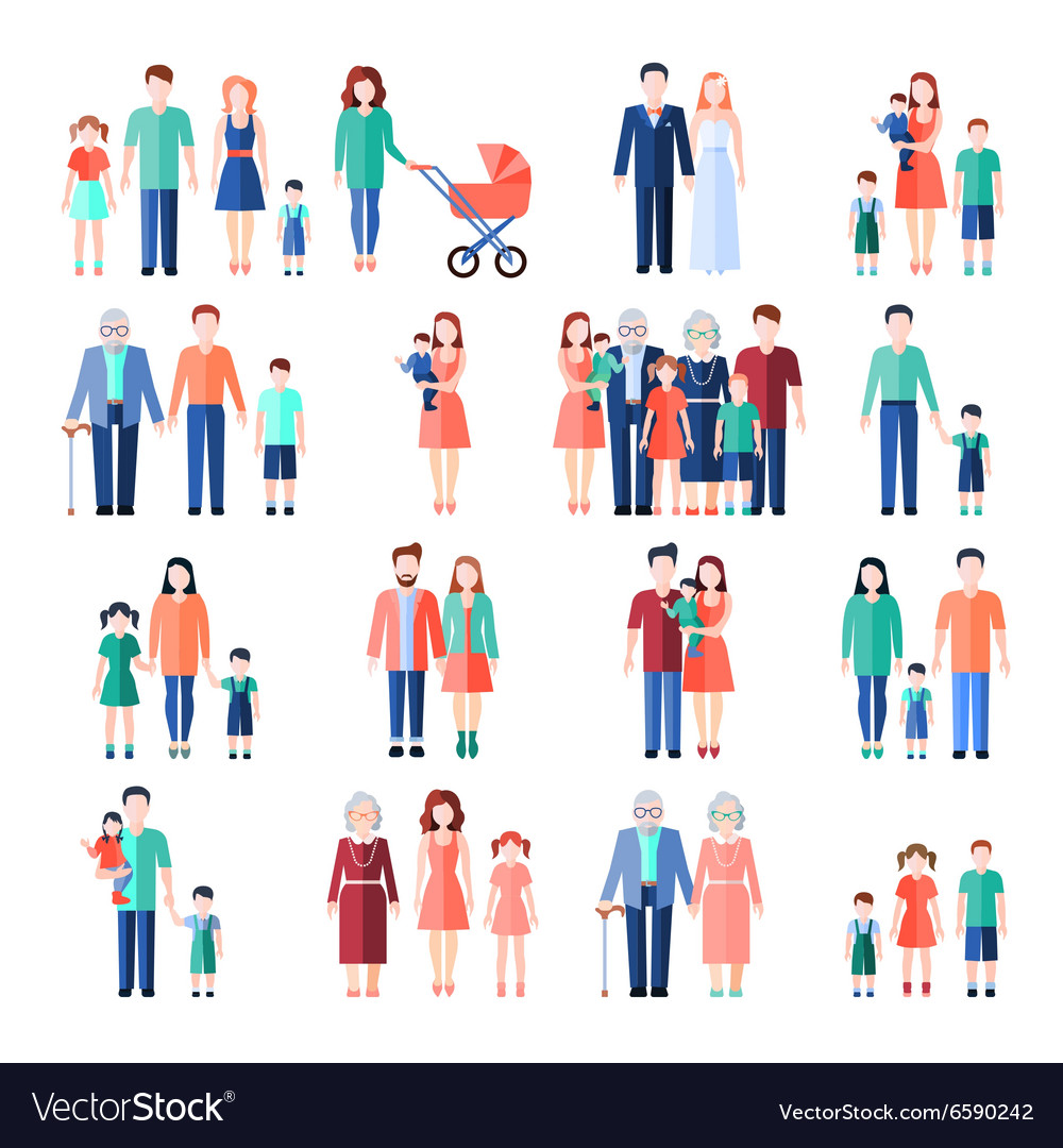 Family flat images set vector