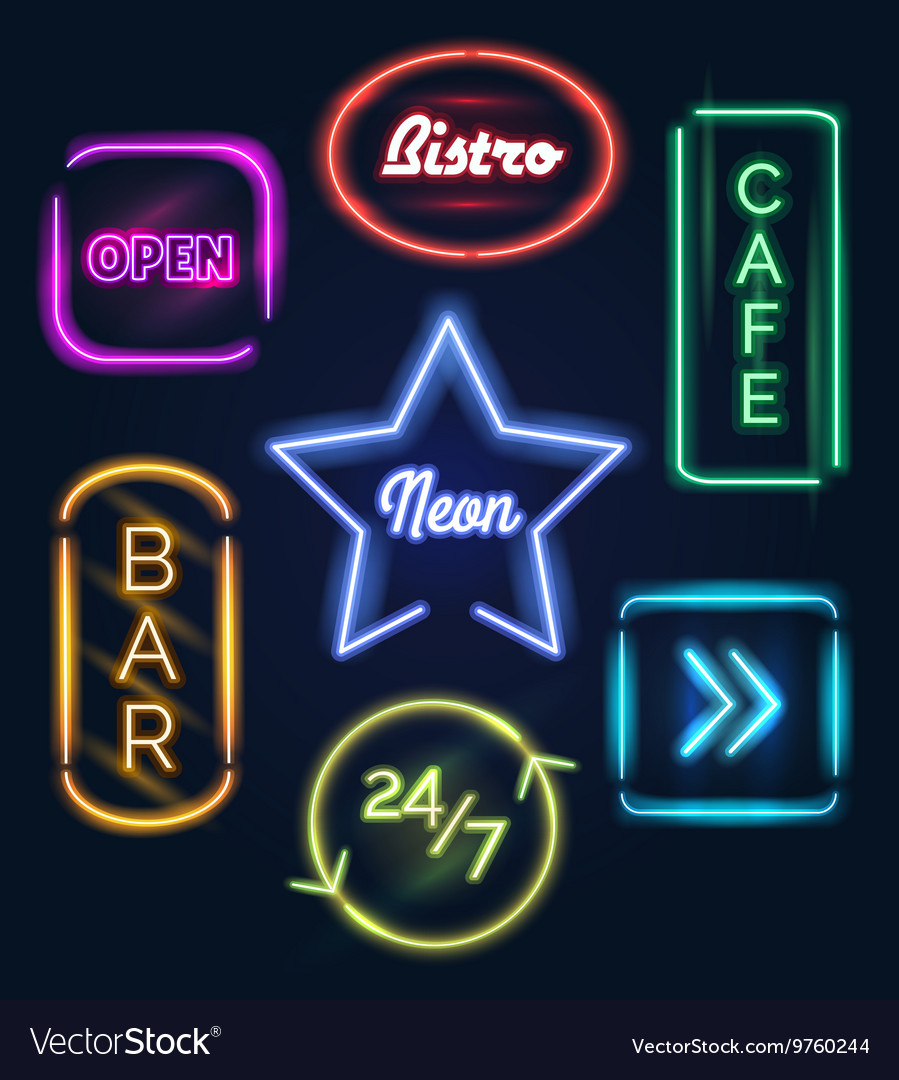 Coffee and bar neon signs vector