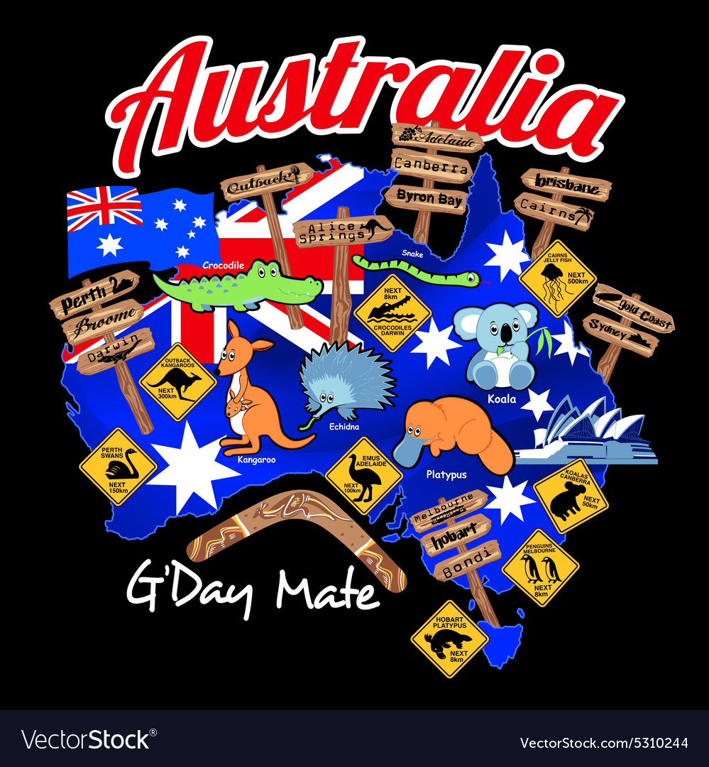 Map of australia with nation flag and icons vector