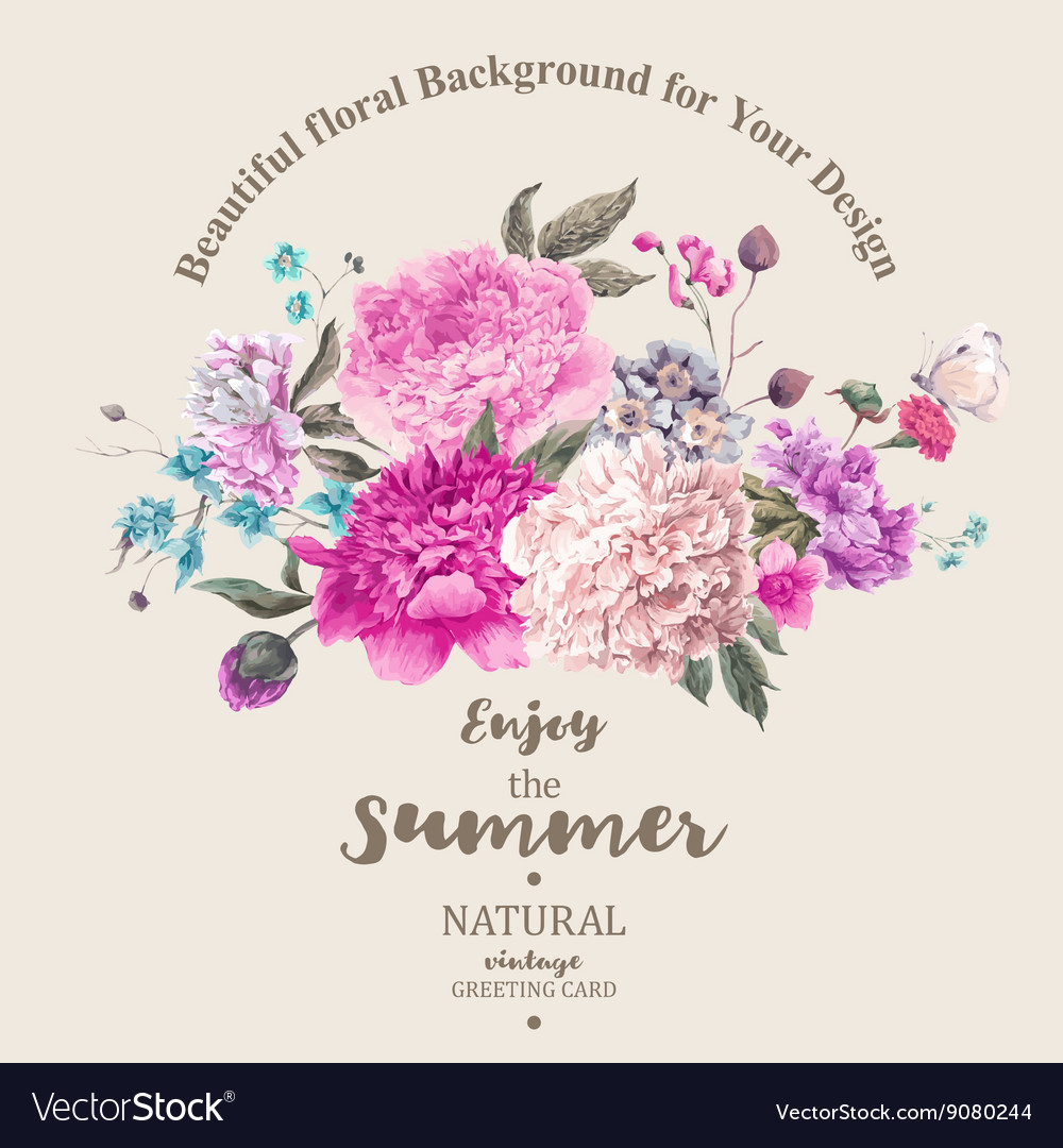 Vintage floral bouquet of peonies and vector