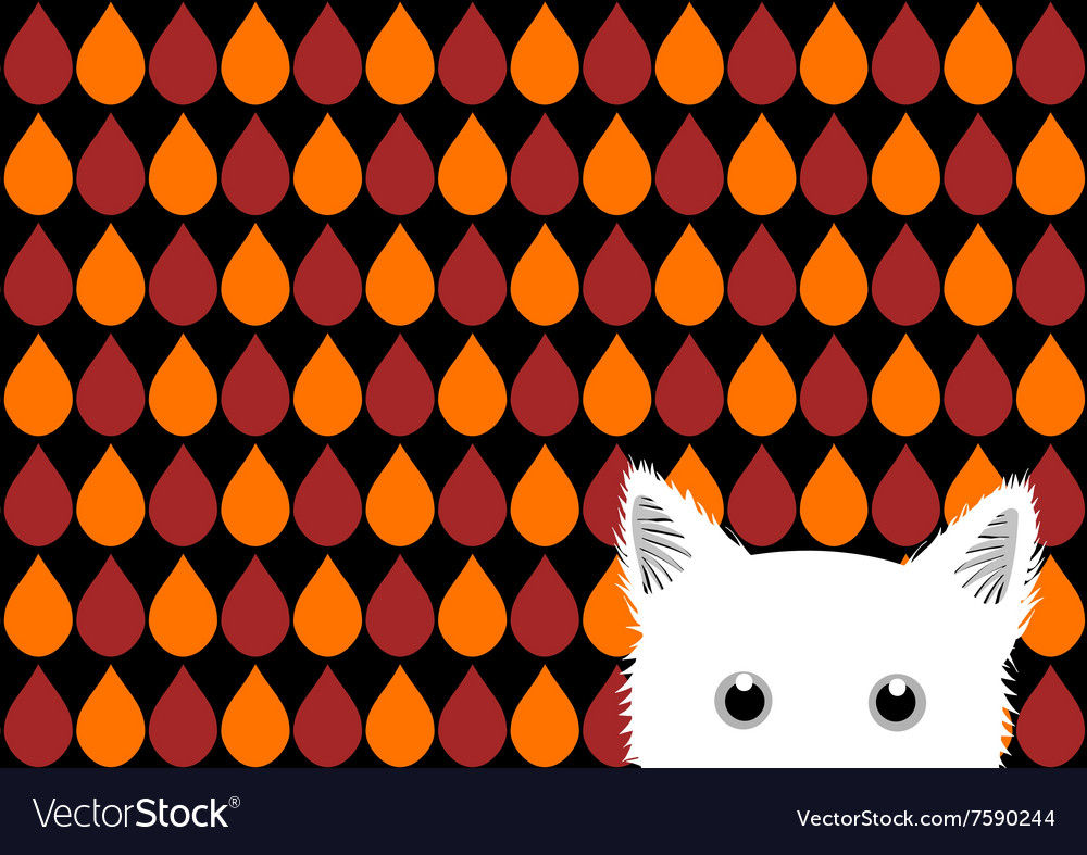White cat orange red brown drops background vector