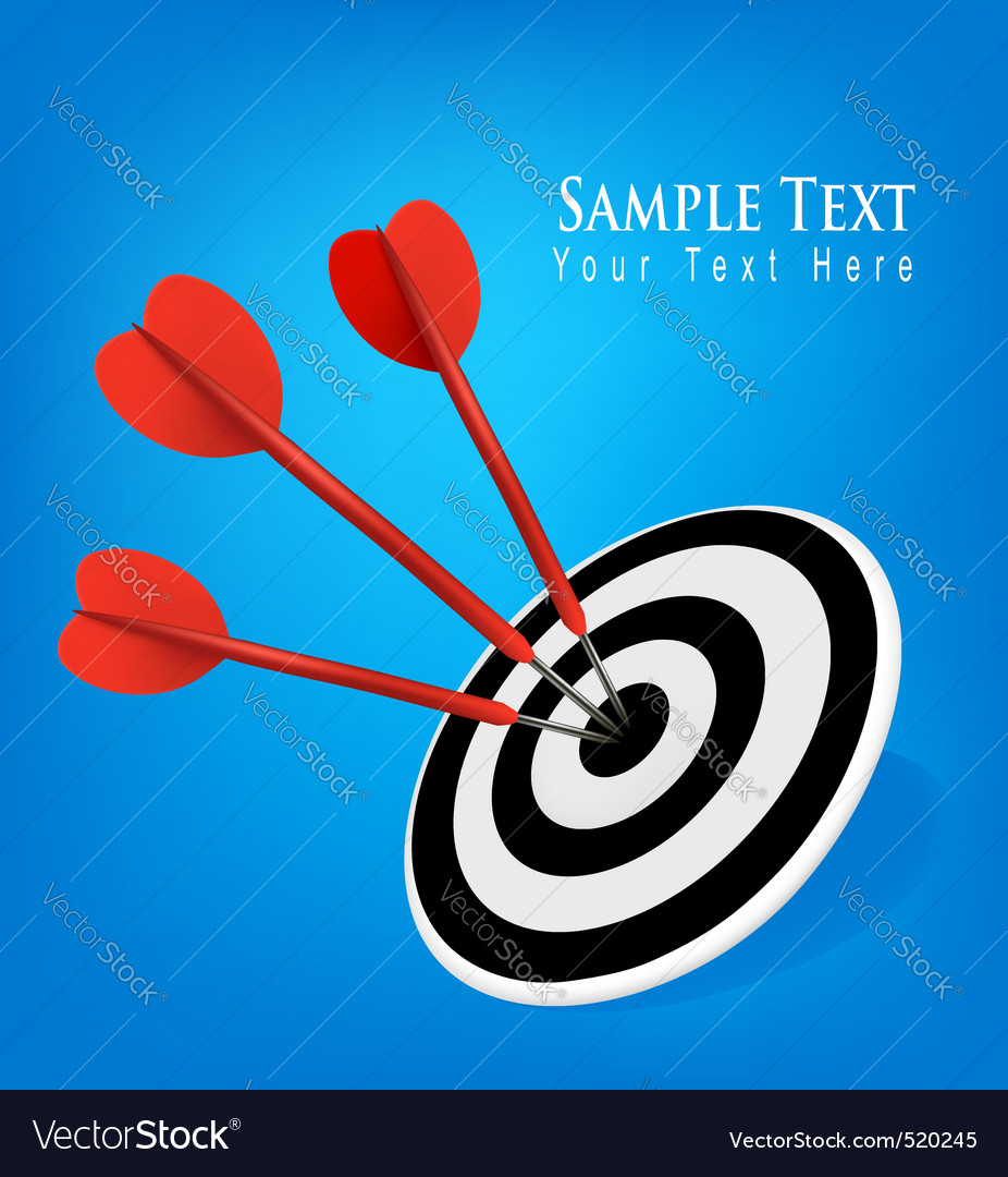 Concept with three drats blue background vector