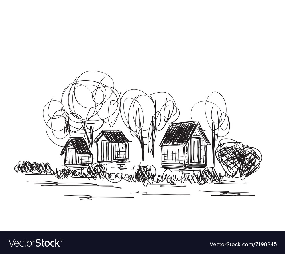 Landscape with trees and village house vector