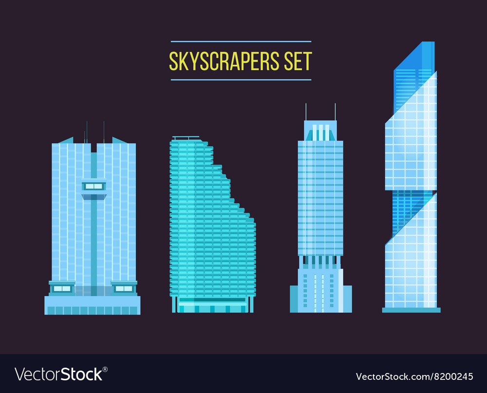 Modern skyscrapers icons set on the dark vector