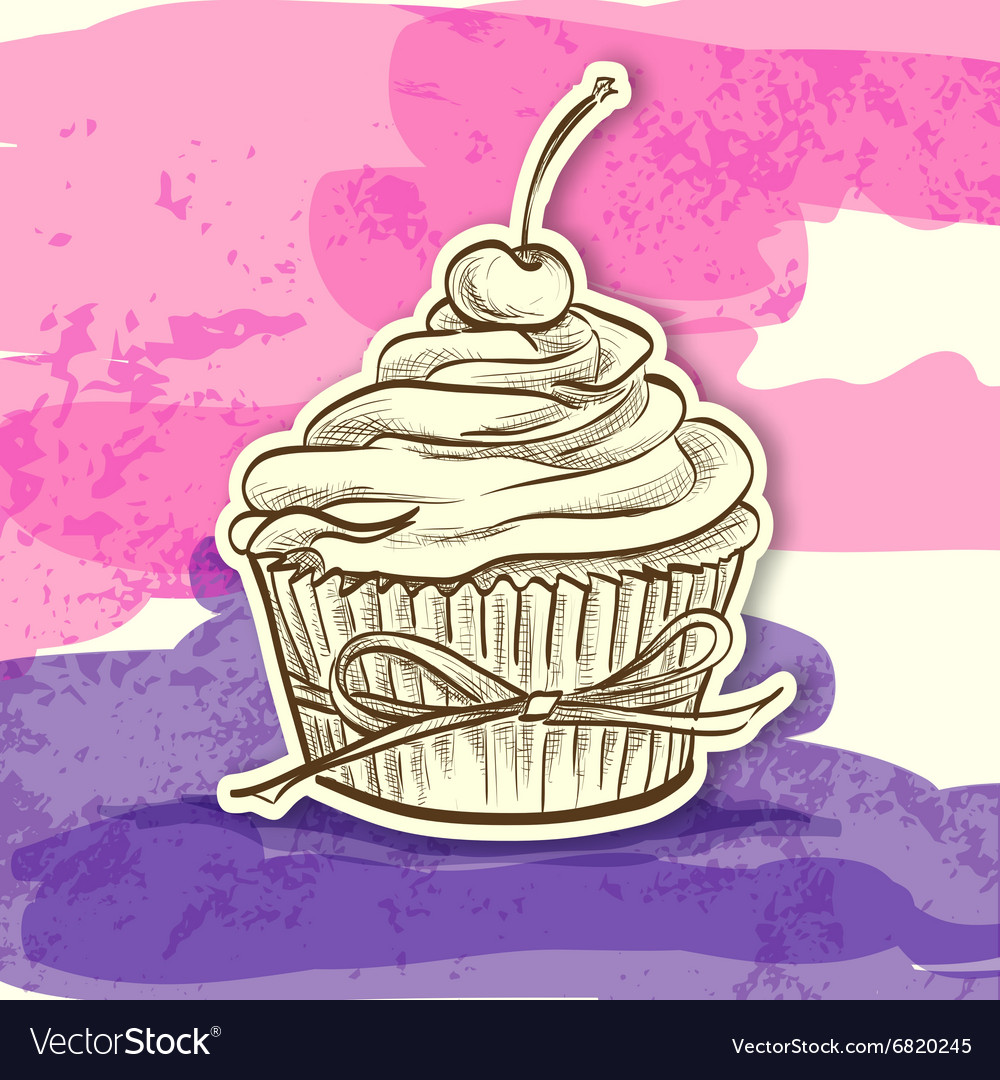 Sticker colorful cake vector