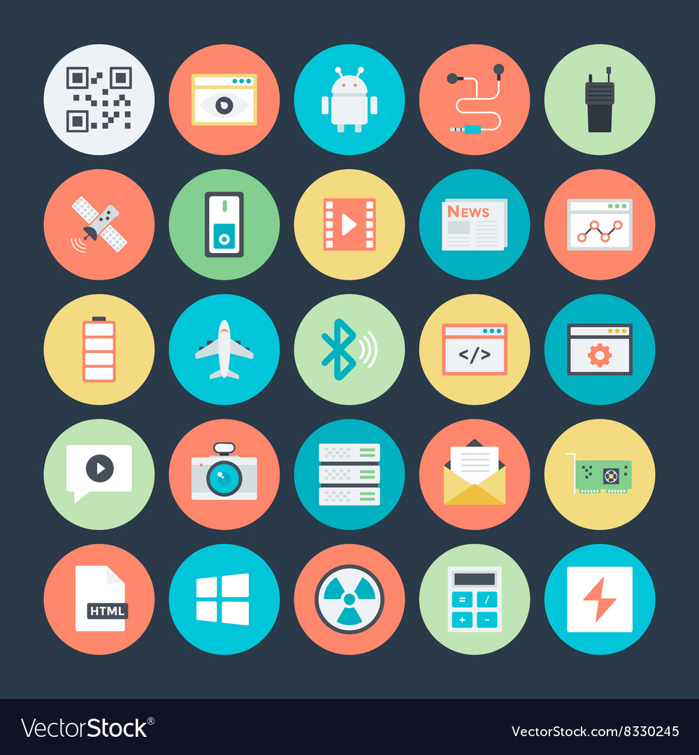 Technology and hardware colored icons 3 vector