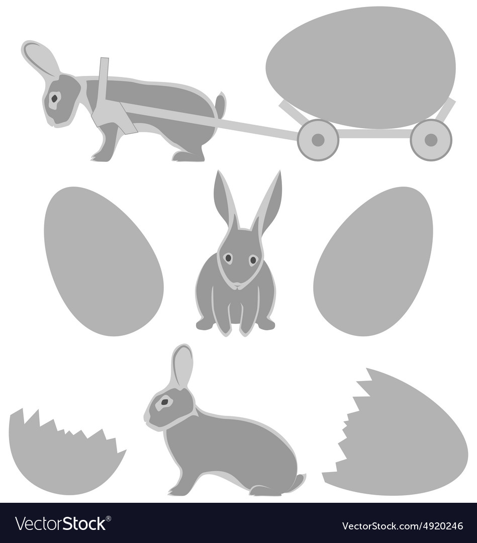 Grey rabbits with eggs isolated on white vector