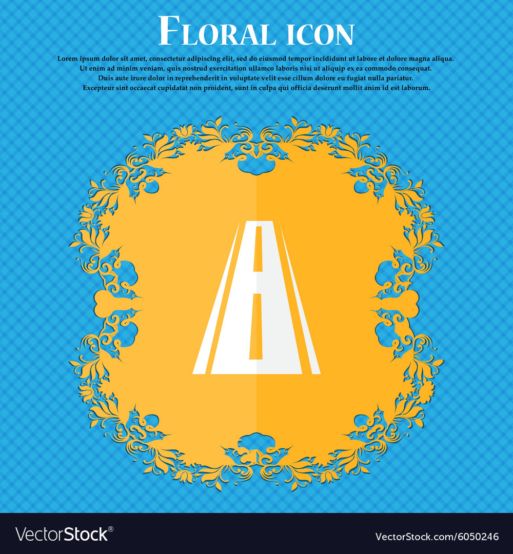 Road icon sign floral flat design on a blue vector