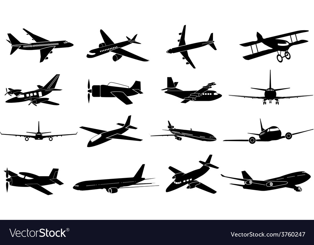 Air plane icons set vector