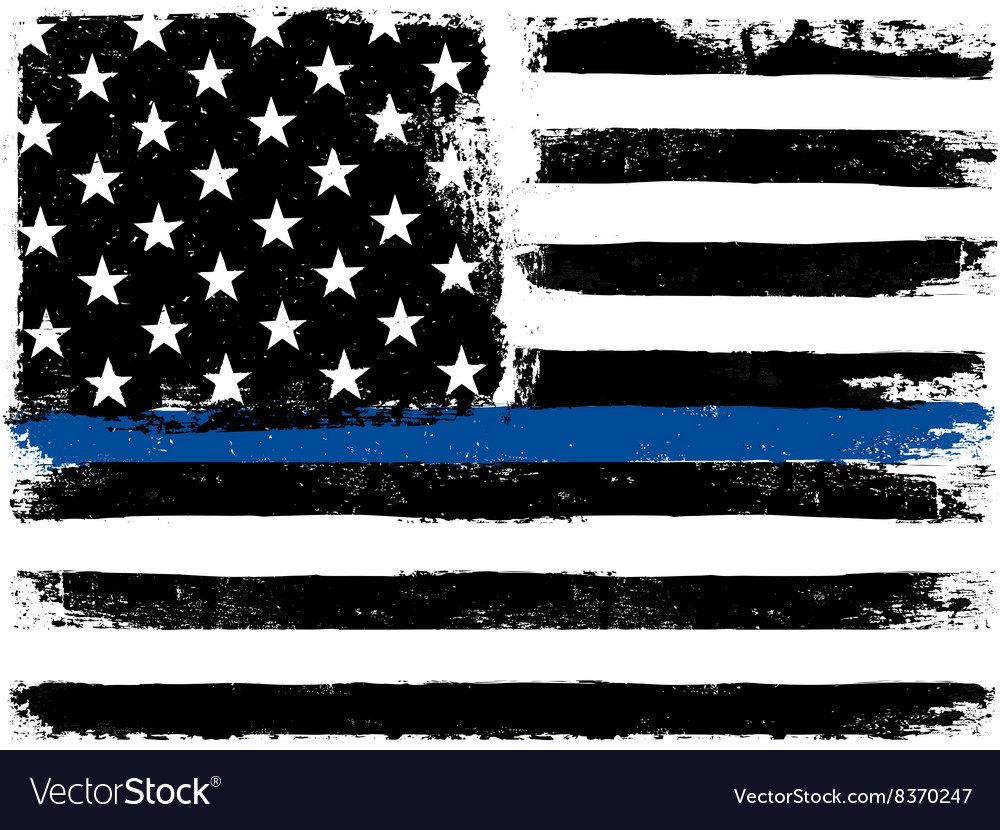 American flag with thin blue line grunge aged vector