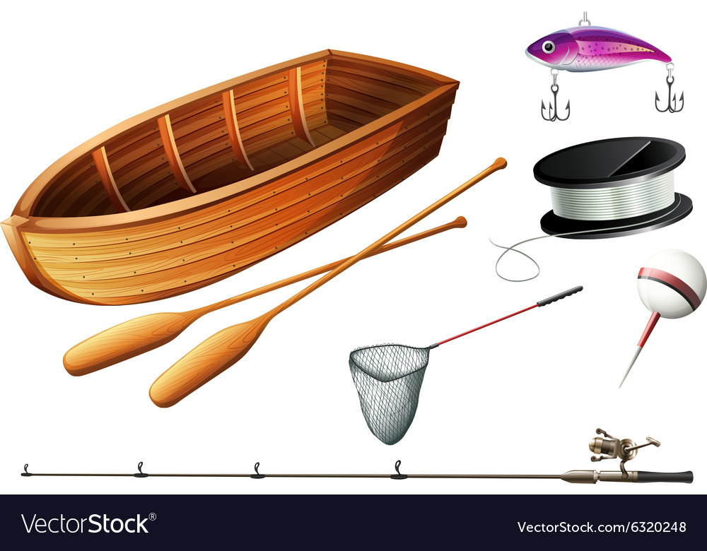 Boat and fishing equipments vector