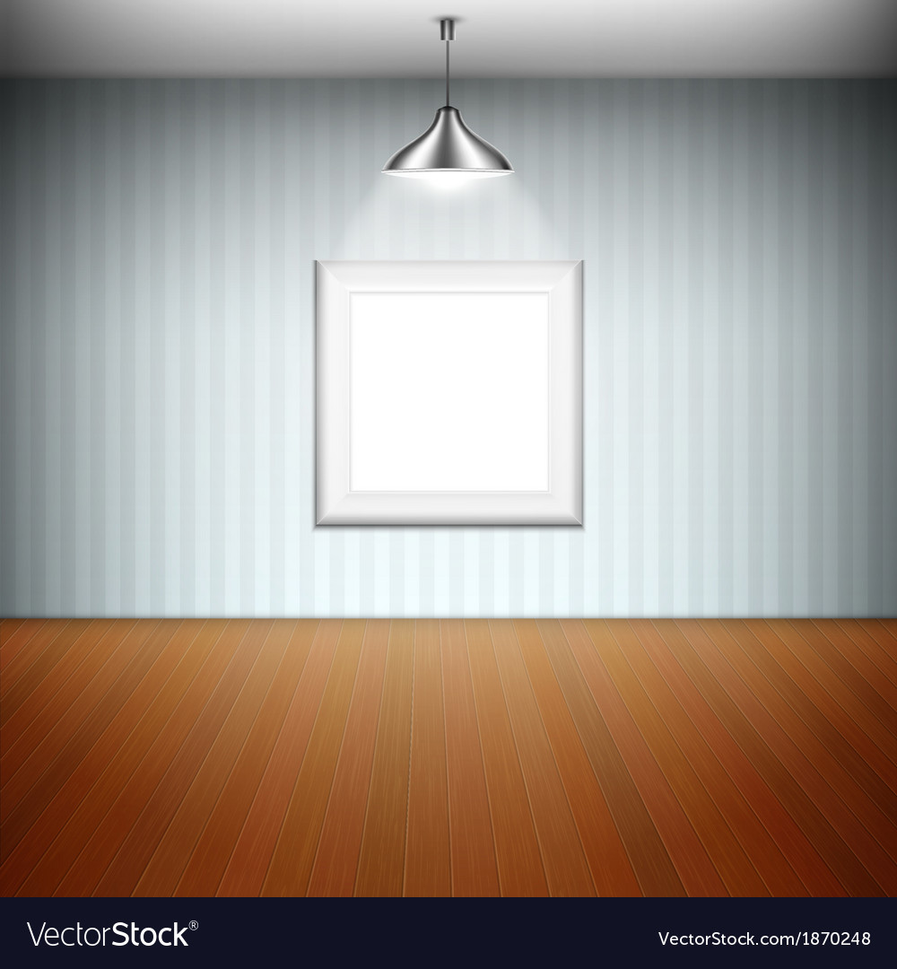 Empty picture frame illuminated by spotlight vector