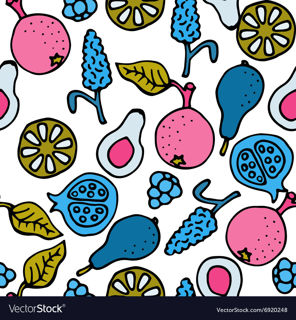 Fruit doodle hand drawn seamless pattern vector
