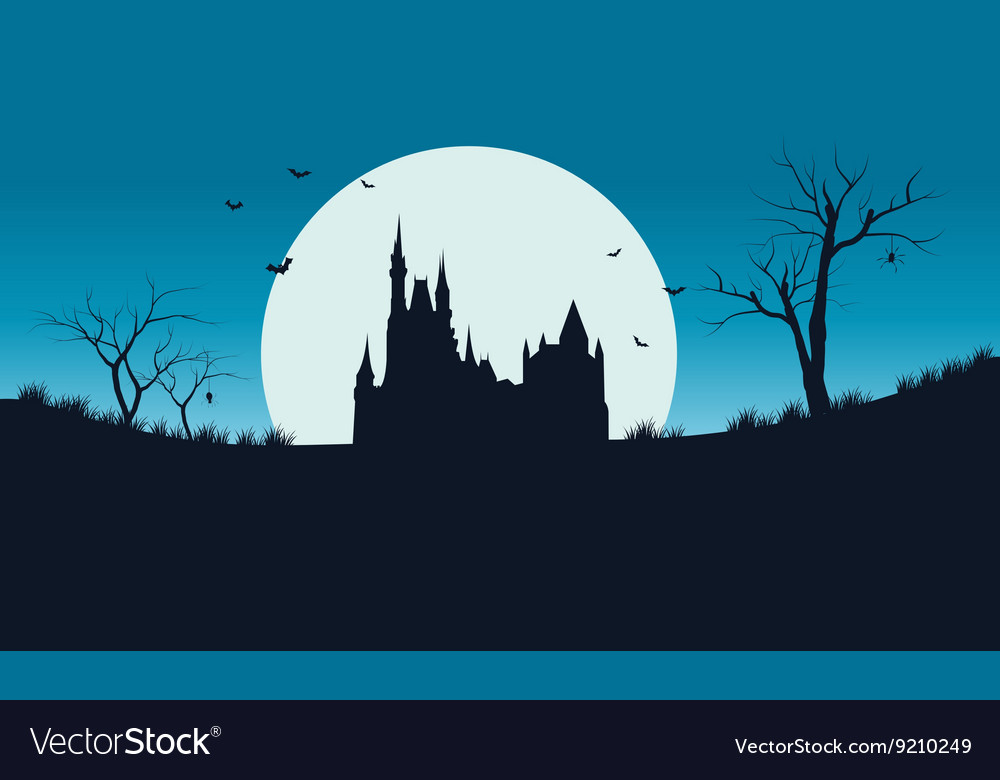 Halloween full moon and castle of silhouette vector