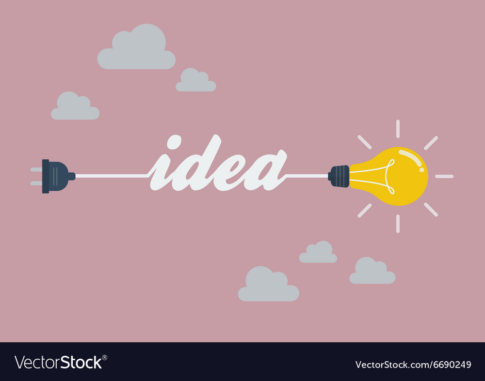 Light bulb idea in flat style vector