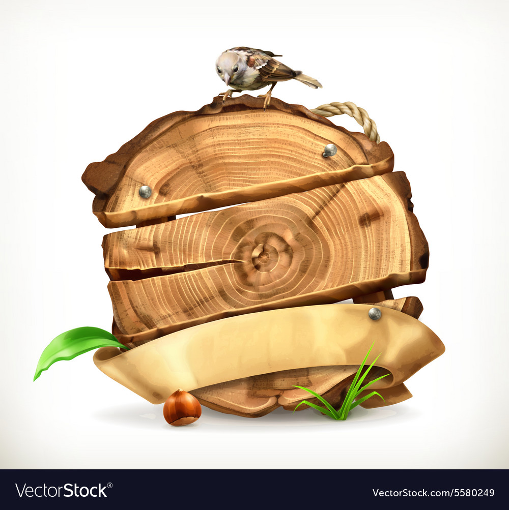 Wooden banner tree stump vector